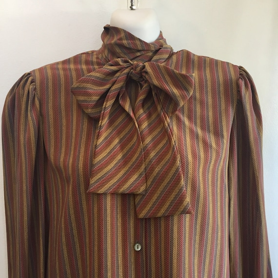 Vintage 70's PUSSY BOW BLOUSE / Earth Tone Stripes