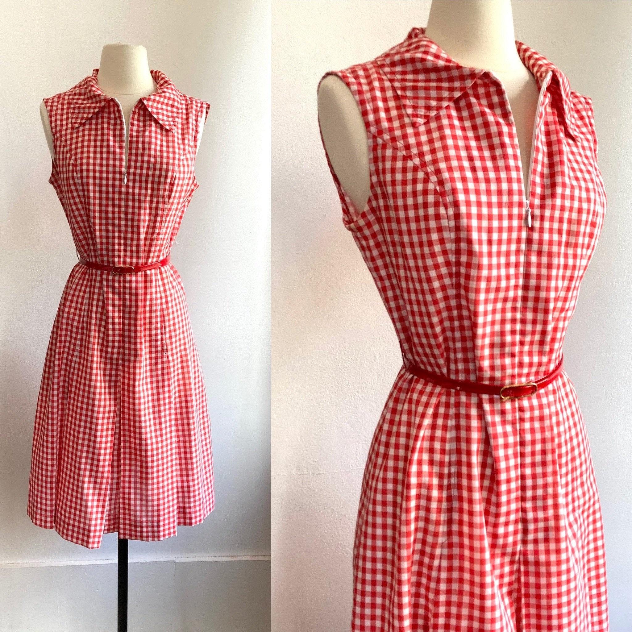 Vintage Scarf Styles -1920s to 1960s Vintage 60s Red Gingham House DressZip Front  Pleat Skirt Preppy $0.00 AT vintagedancer.com