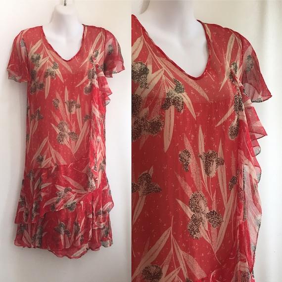 Vintage 20's SILK CHIFFON FLORAL Dress / Garden T… - image 1