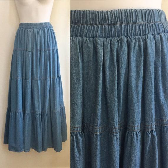 Vintage 80's Does Victorian DENIM PRAIRIE Skirt /