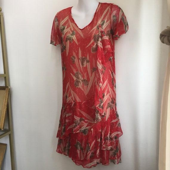 Vintage 20's SILK CHIFFON FLORAL Dress / Garden T… - image 4