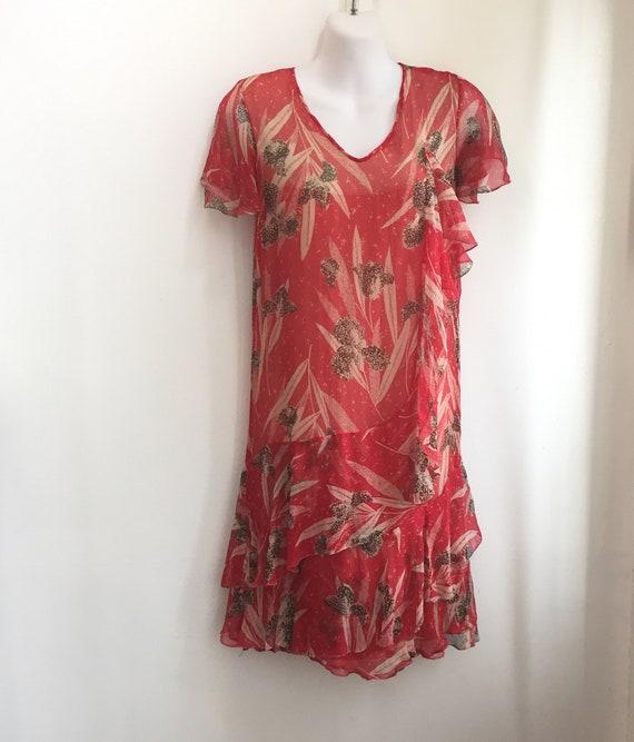 Vintage 20's SILK CHIFFON FLORAL Dress / Garden T… - image 2