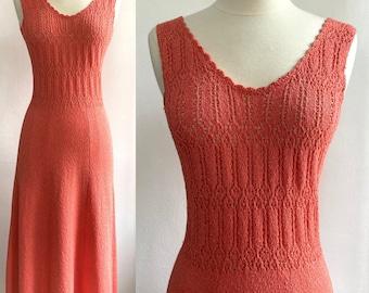 Sexy 1970's Vintage Clingy PEACH KNIT Tank Dress / EYELET Bodice / M
