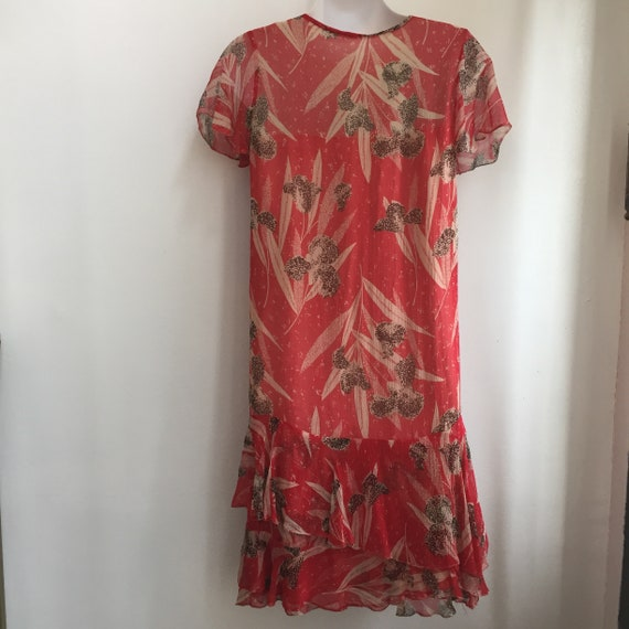 Vintage 20's SILK CHIFFON FLORAL Dress / Garden T… - image 8