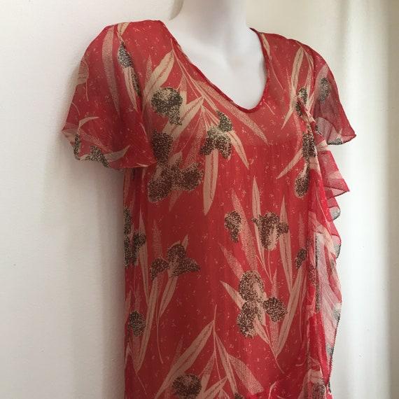 Vintage 20's SILK CHIFFON FLORAL Dress / Garden T… - image 3