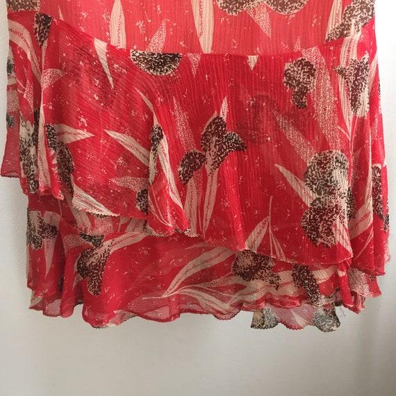 Vintage 20's SILK CHIFFON FLORAL Dress / Garden T… - image 6