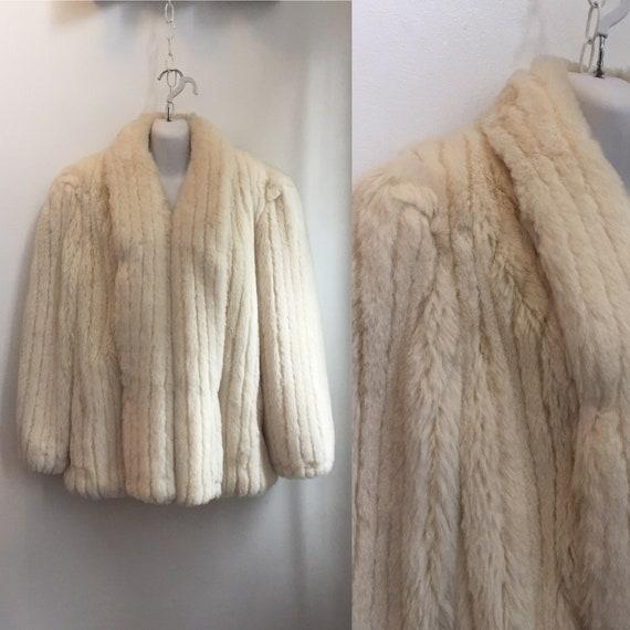 Vintage 80's Cozy FAUX FUR COAT Jacket / Ribbed /