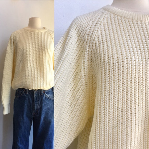 Vintage 80's CHUNKY KNIT CREAM Crew Sweater / Ribb