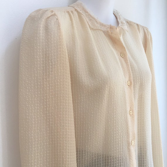 Vintage 70's Does Victorian SHEER PUCKERED Puff Sl