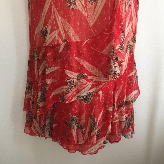 Vintage 20's SILK CHIFFON FLORAL Dress / Garden T… - image 7