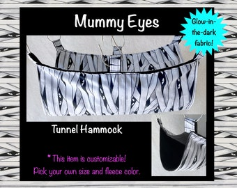 Mummy Glow-in-the-Dark Customizable Tunnel Hammock for Pet Rats / Available in Multiple Sizes and Fleece Colors / Made to Order