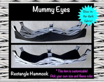 Mummy Glow-in-the-Dark Rectangle Hammock for Pet Rats / Available in Multiple Sizes and Fleece Colors / Made to Order Customizable