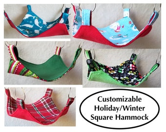 Customizable Holiday / Winter Themed Square Hammock for Pet Rats or other small animals, Multiple Sizes, Colors, and Fabrics Available