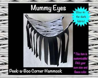 Mummy Glow-in-the-Dark Customizable Peek-a-Boo Corner Hammock for Pet Rats / Available in Multiple Sizes and Fleece Colors / Made to Order