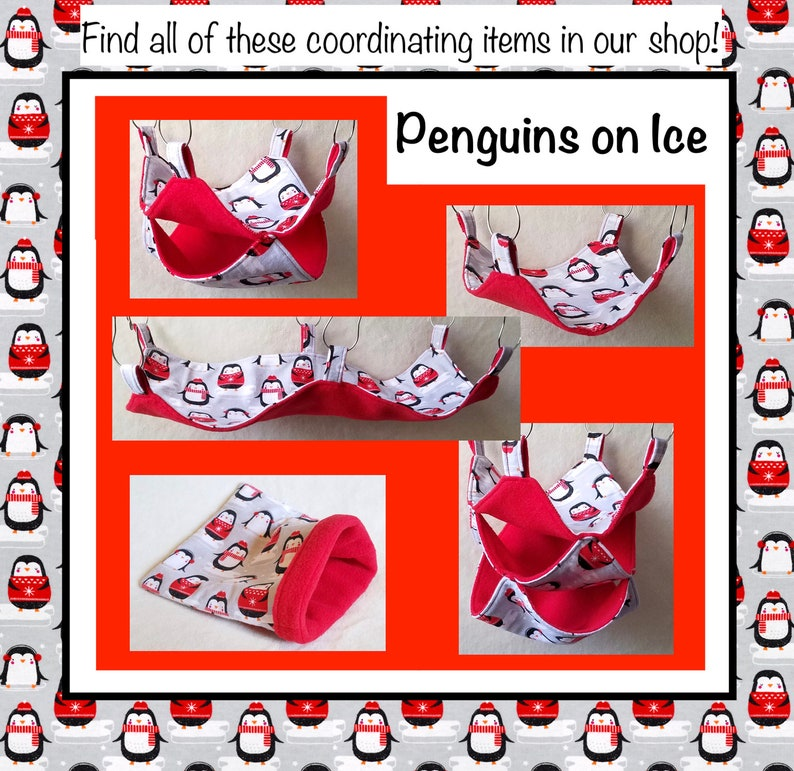 Christmas Cozy Bedding Penguins on Ice Rat Snuggle Sack with Red Fleece Sleep Cuddle Sack