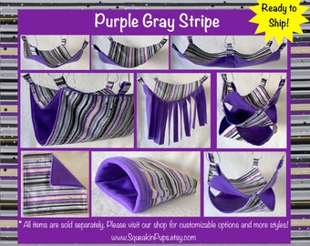 Purple Gray Stripes fabric with Purple fleece, Bedding Set for Pet Rats / Available in Multiple Sizes and Styles / Ready to Ship