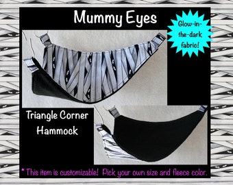 Mummy Glow-in-the-Dark Customizable Triangle Corner Hammock for Pet Rats / Available in Multiple Sizes and Fleece Colors / Made to Order