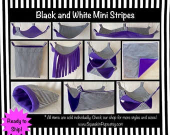 Black and White Mini Stripes fabric with Purple fleece, Bedding Set for Pet Rats / Available in Multiple Sizes and Styles / Ready to Ship
