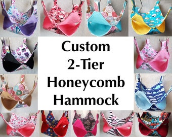 2-tier Honeycomb Hammock, Custom Order, Multiple sizes, colors, and fabrics available, Perfect for Pet Rats and Critter Nation Cages