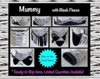 Mummy Glow-in-the-Dark with Black fleece, Hammock Pet Bed Snuggle Sack for Pet Rats / Available in Multiple Sizes and Styles / Ready to Ship