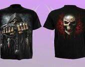 Spiral Game Over Black T Shirt Front Back Print - Gothic, Reaper Skull, Rock