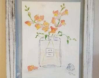 "Original Chanel N 5 Perfume Bottle & Snapdragon Watercolor 9"" x 12"""