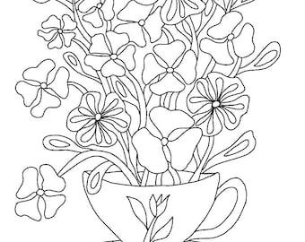 d.Mae entwirft eine Tasse Blumen
