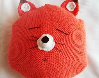 84b68a98225b Coussin renard Crochet amigurumi,fait main, DIY, cadeau anniversaire ou  Noel, décoration chambre bébé et enfant, peluche, déco