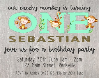 1st Birthday Cheeky Monkey Party Invitation