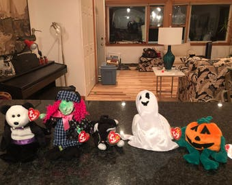 Halloween collection. Beanie babies. Scary, Zip, Sheets,Count, Pumpkin