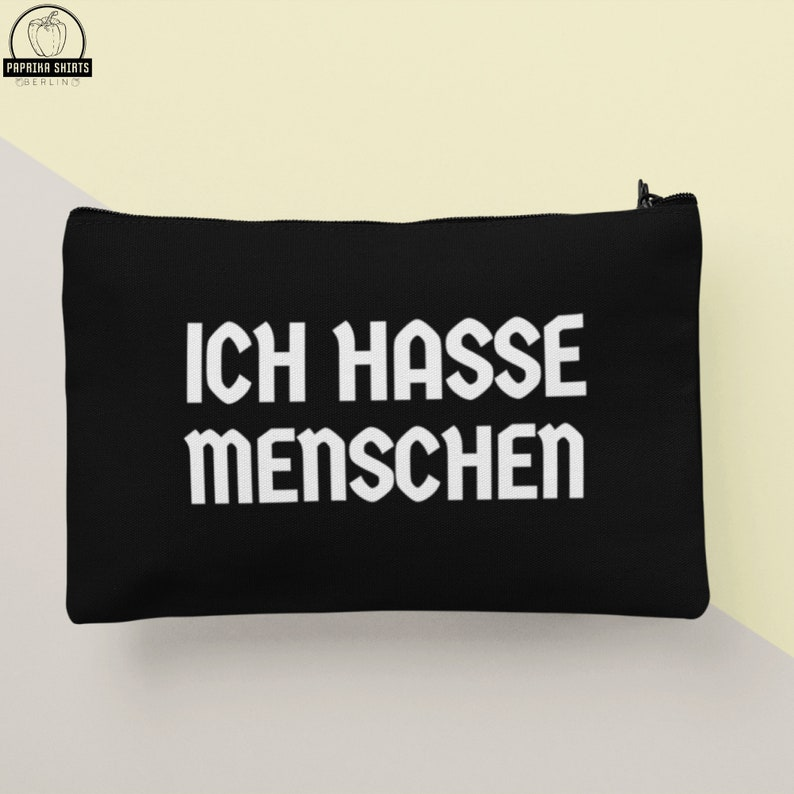 Pouch Ich Hasse Menschen iPad miniTablets bag I hate people Lustige Spr\u00fcche Pencil Case Camping Accessory Make Up Bag Small Bag Zipper
