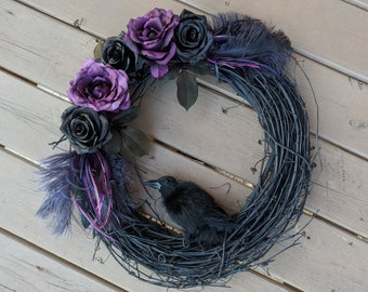 Halloween Wreath, Raven Wreath, Front Door Wreath, Purple and Black Wreath