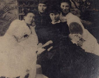 1/6 Plate TINTYPE of Four Women One Holding a Fan