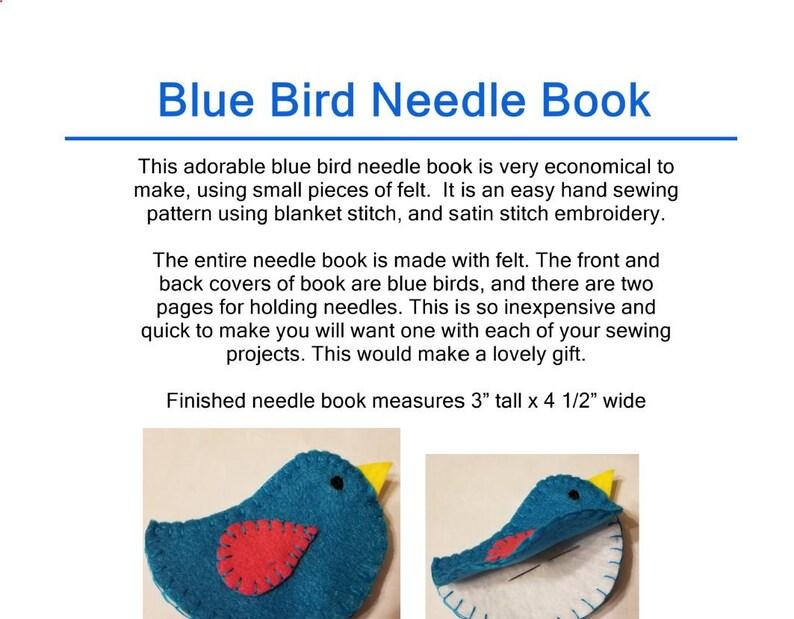 Blue Bird Felt Needle Book