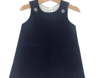 Corduroy Jumper Dress ~ Navy