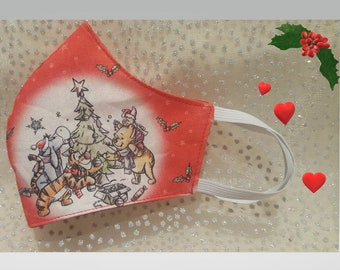 Holly Jolly Christmas Winnie Print  -  Reusable and Washable Fabric Face Mask ****Shipping includes a tracking number****