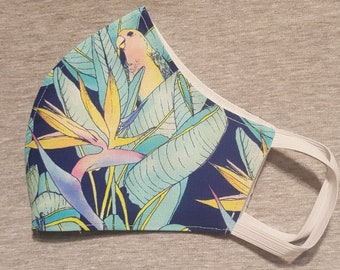 Stunning Bird of Paradise print Reusable and Washable Cotton Fabric FACE MASK  ****Shipping includes a tracking number****
