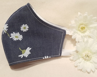 Super Soft Denim with pretty Daisy print Reusable and Washable Cotton Fabric FACE MASK