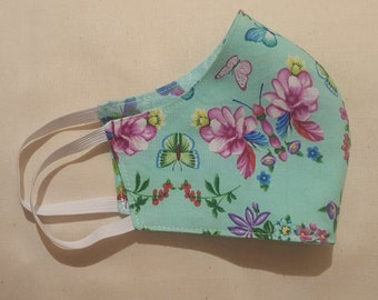 Spring garden floral butterfly print Reversible Reusable and Washable Fabric Face Mask  ****Shipping includes a tracking number****