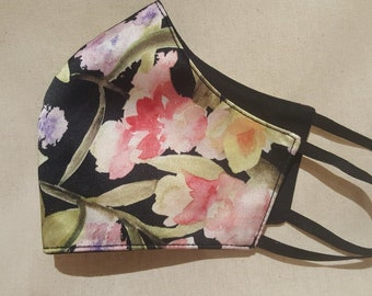 Exquisite Watercolour Floral Print Silk Face Mask **** Shipping includes a tracking number****