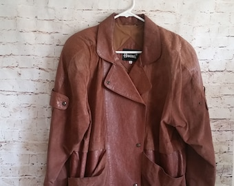 Vintage Avanti Mens Flight Jacket Size Small Pig Suede Snap Closer Textured Lined