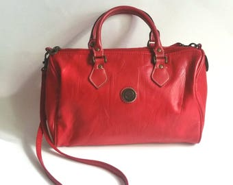 Vintage Capezio 1887 Purse Red Satchel With shoulder strap Handbag Taiwan R.O.C