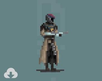 8 Bit Warlock – Destiny, Samsara Armor, Pixel Art, Retro, Prints, Illustration, Art – Digital Download