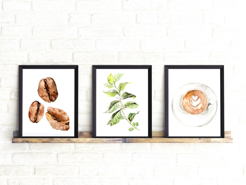 Coffee art prints Coffee Poster Watercolor Coffee Coffee image 0