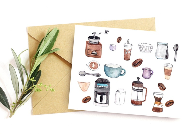 Coffee lover note card Set of 10 coffee themed cards Barista image 0