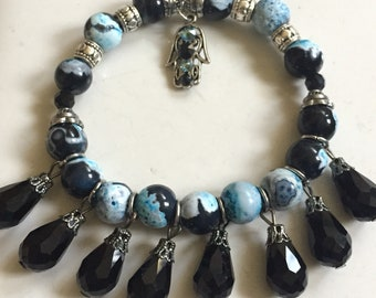 Charm bracelet, beaded bracelet, blue and black beaded bracelet