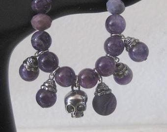 Amethyst Jewelry, Amethyst Bracelet, Beaded Bracelet, Amethyst Beads - Amethyst Charm Bracelet