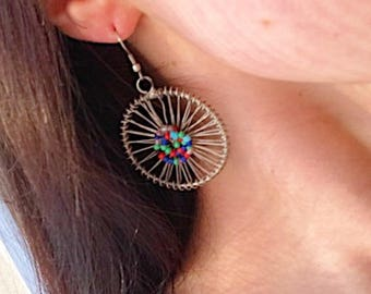 Hoop Earrings, Very colourful, with beeds, Perfect gift for her
