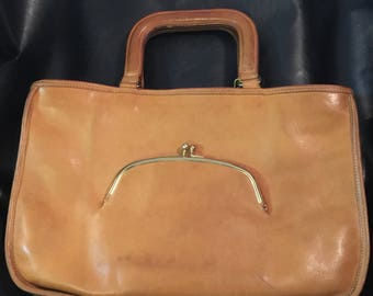 Vintage Coach 7297 Bonnie Cashin Kiss-lock watermelon satchel handbag mid 1970s