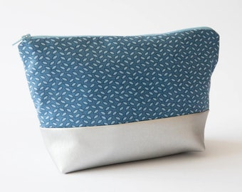 Unique Handmade Blue Floral Cotton/Silver Faux Leather Cosmetic Bag. UCB14